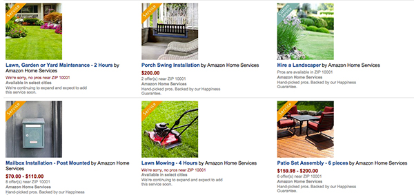 Users can search for landscape services like mowing, trimming, design/build work and more.