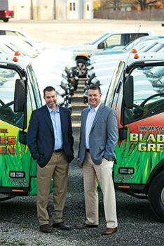 Mark Leahy (left) and Brad Leahy, owners of Blades of Green in Edgewater, Md.