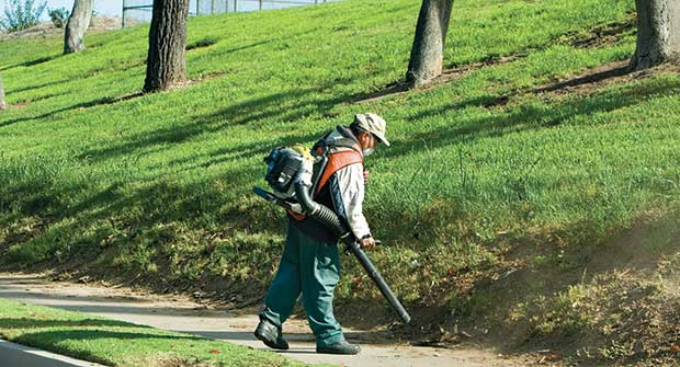 Man using backpack blower